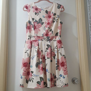 off-white pink floral pleated garden party dress